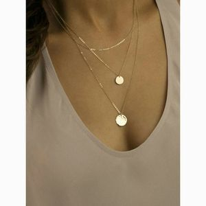 Dainty Gold Delicate 2 Disc Layered Chain Necklace